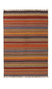 Rug~ Earthy Tones Ooty Stripe Indian Kilim Cotton Rug~ By Folio Gothic Hippy R2146